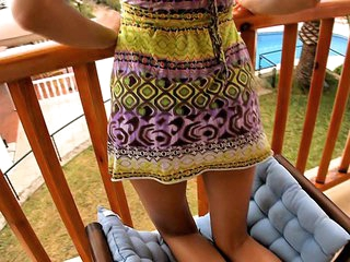 I don't know anything that could be compared with staring at cute playful teen chicks exposing some of most intimate, sweetest spots of their bodies or having nice sex with their boyfriends! This time is not the exception and now I recommend you to see the cutie posing in her light sundress on balcony.