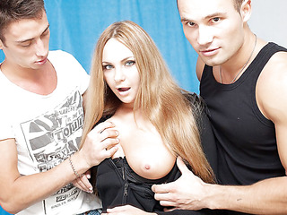 Three oversexed guys were bored as hell and wanted to fuck, so one of 'em went out to find some chick. What a surprise, a cute neighbour of his was walking in the park, and she acceded to have a cup of tea with him! Looks like this sexy blondie will be the star of an amateur DP movie :) At first she didn't want to take part in real hard fuck, but did this babe have any choice? The horny guys got her stripped in no time and made her do hard unfathomable face hole. Then it was time for real anal fucking, ...