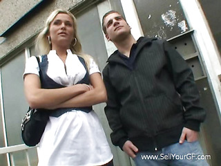 Man sells his sweet-looking legal age teenager girlfriend to one handsome stranger for some cash.