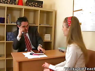 Cute sweetheart came to the teacher's place and acceded to please him. The old stud pets her pinkish vagina.