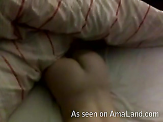 Wench stands doggy style feeling dick in snatch from behind