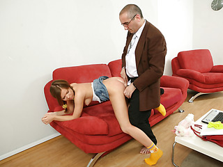 Old naughty teacher fills each single constricted hole of a bad student with his large firm jock.