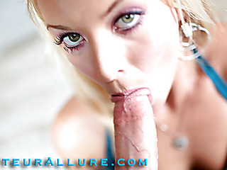 Shay likes to give head and that babe shows just how much when this babe bobs and mouths a large weenie aggressively during the time that rubbing her shaved slit then this babe gets fucked real hard solely to have a huge load of cum discharged into her awaiting mouth.
