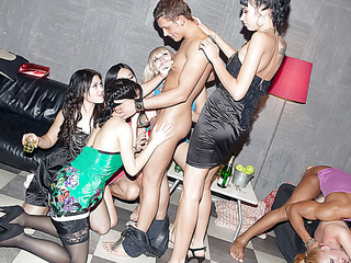 Those lecherous college chicks haven't had sex for a whilst, so they decided to get together for a steamy college sex party with attractive guys. From the very start it's obvious that the party's gonna be a real blast! The horny students start with...