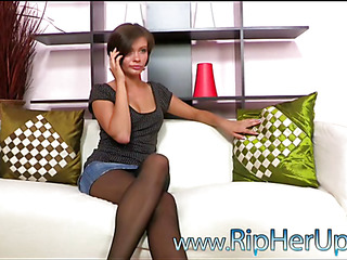 Beauty rides up ramrod and bounces on it feeling in her anus