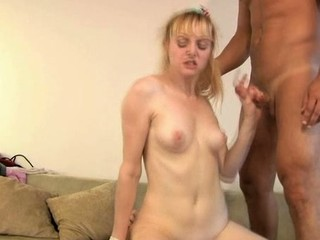 Sexy darling is giving stud a wet oral-stimulation previous to riding it