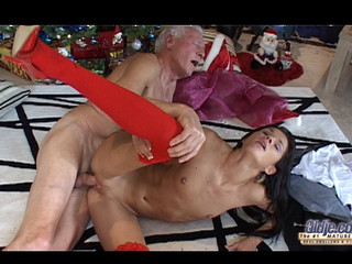 This old fellow finds out on the Christmas morning a cute dark brown doll under his tree. But this doll is a real young cutie sent to make him happy with valuable hardcore: oldyoung fuck, fellatio, doggy style and more