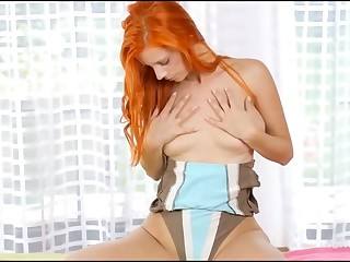 Sweet hotty is becoming bare and then caressing her soaked twat