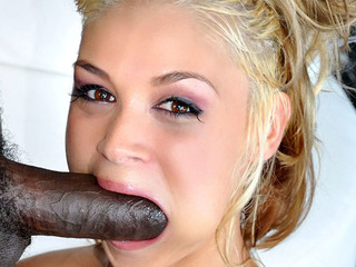 Cute blond is excited to engulf and fuck a large black dong