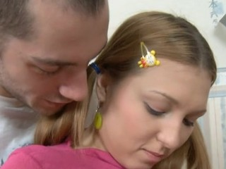 Cute chick bounds on hard dick and feels it in mouth.