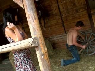 Nasty dark brown enjoy wild sex in a barn on the hayloft