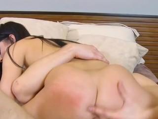 Stupid schoolgirl serves a pulsating penis of a aged stud
