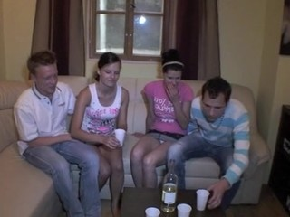 Two sexy sluts get satisfied by mighty jocks of their partners
