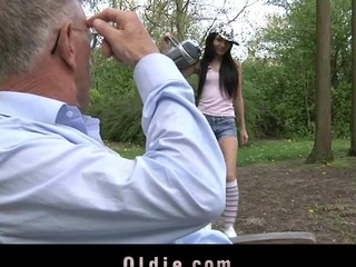 Wicked and playful Nataly Von seduces the old dude with sweet giving a kiss and intense blow job stimulation. This Babe doesn't miss a drop of semen from her mouth.