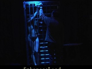 Restrained and fastened in the metal cage cute youthful golden-haired Willa is Master's uncomplaining thrall. Whenever this chab feels like playing kinky that guy takes her out and enjoys the view of having her spanked and fucked