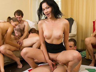 Lascivious students adore sexy celebrations. They undress and plunge into raunchy group fuckfest in sexy student sex party movie.